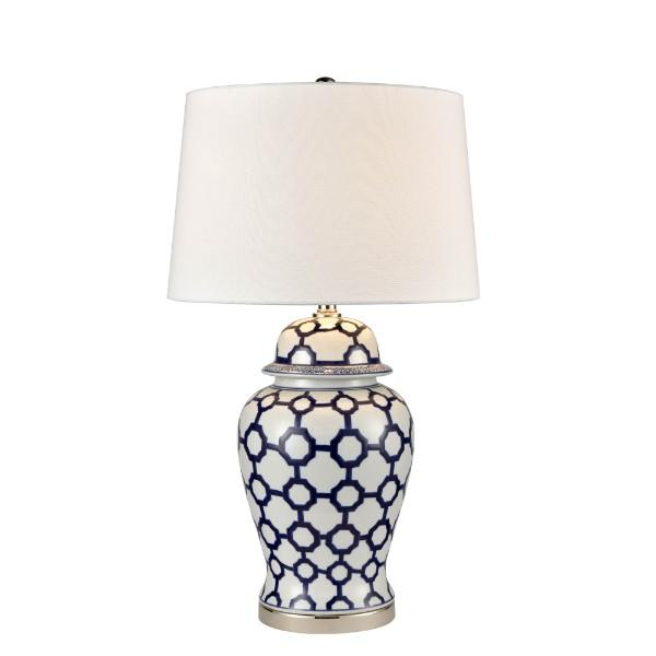 Lamps - Blue And White Jar Shaped Table Lamp With Shade 76 Cm H