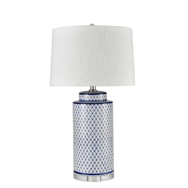 Lamps - Blue Scaled Ceramic Table Lamp With White Shade 73 Cm H
