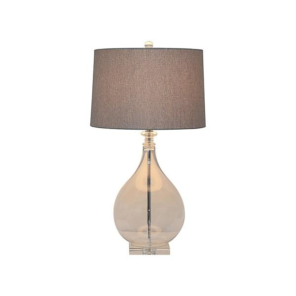 Lamps - Drop Shade Glass Table Lamp With Grey Weaving Shade 76 Cm H | Hamptons Home