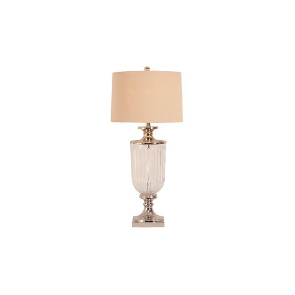 Lamps - Glass Nickel Lamp With Natural Linen Shade 84 Cm H | Hamptons Home