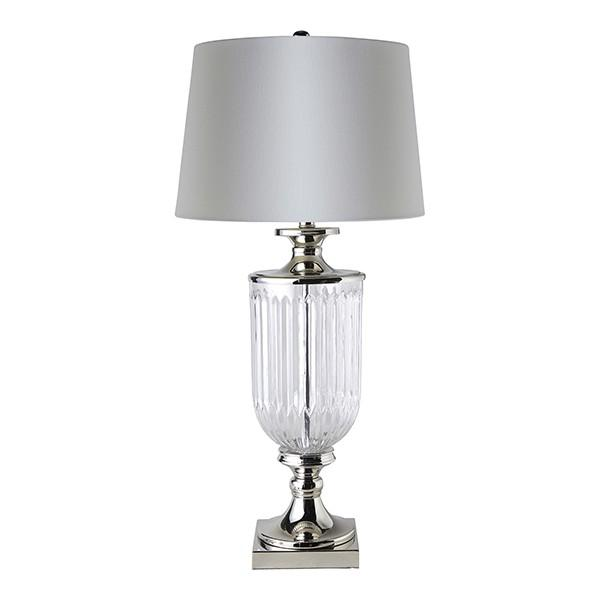 Lamps - Glass Nickel Table Lamp With White Linen Shade 84 Cm H | Hamptons Home