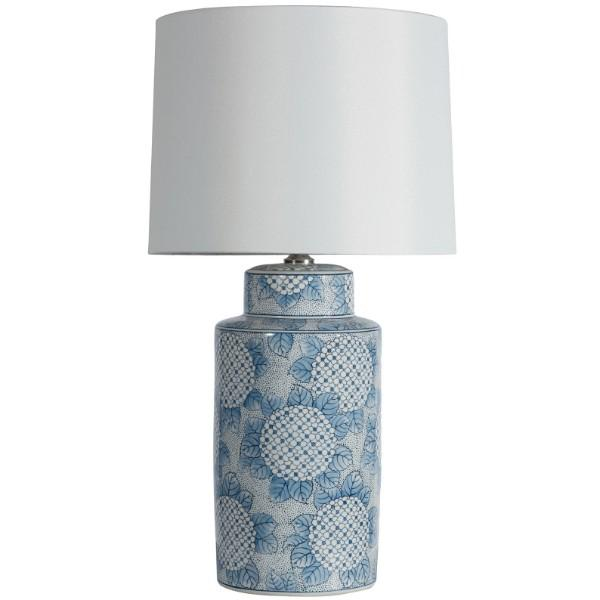 Hydrangea White and Indigo Bedside Table Lamp | Hamptons Home