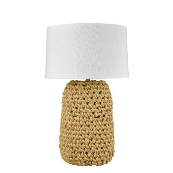 Lamps - Large Knotted Rope Table Lamp With White Shade 85 Cm H | Hamptons Home