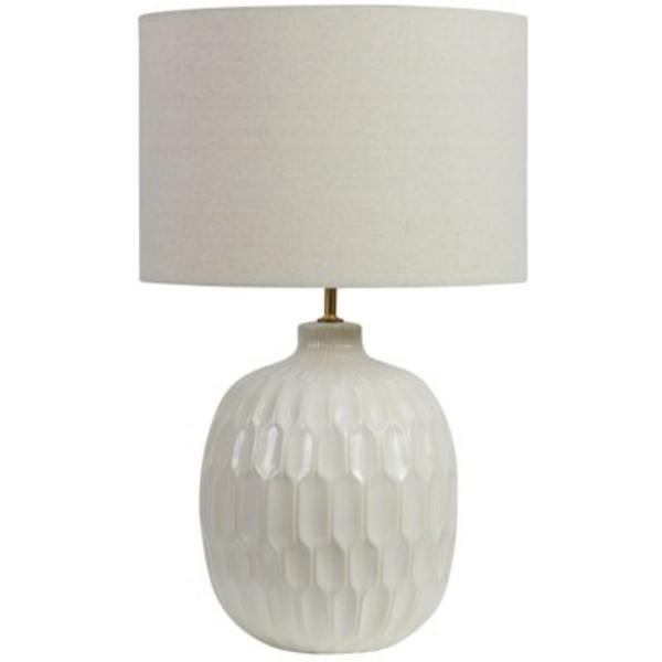 Marcia White Cream and Natural Bedside Table Lamp  | Hamptons Home