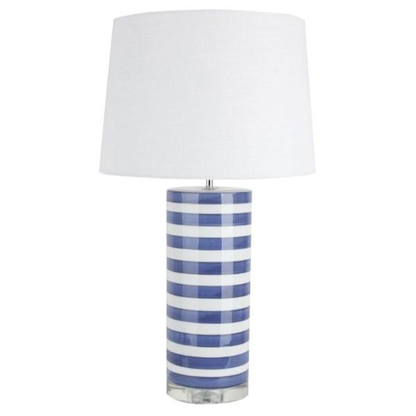 Nantucket Blue Navy and White Bedside Table Lamp - Hamptons Home {product_type] Hamptons style Furniture