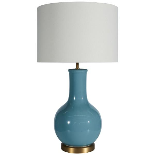 Pierre Bright Sky Blue Bedside Table Lamp | Hamptons Home
