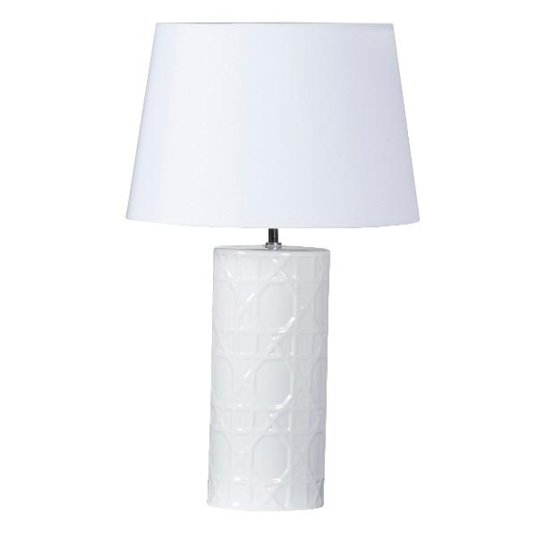 Wicker White Bedside Table Lamp - Hamptons Home {product_type] Hamptons style Furniture