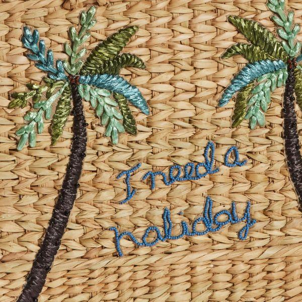 Outdoor Bags - Summertime Palm Basket Natural 40 Cm H | Hamptons Home