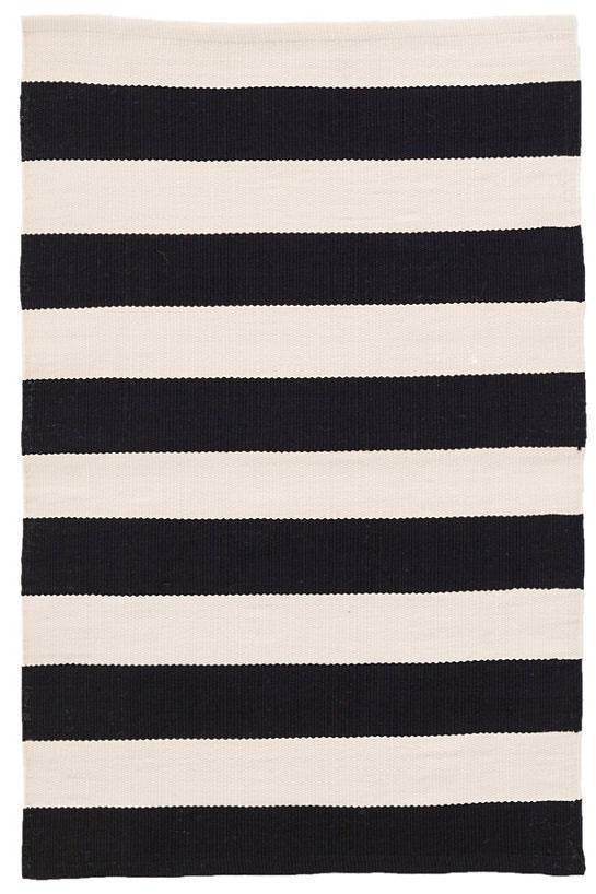 Dash & Albert Catamaran Stripe Black & Ivory Indoor Outdoor Rug | Hamptons Home