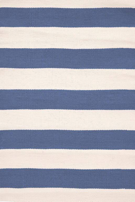 Dash & Albert Catamaran Stripe Denim & Ivory Indoor Outdoor Rug | Hamptons Home