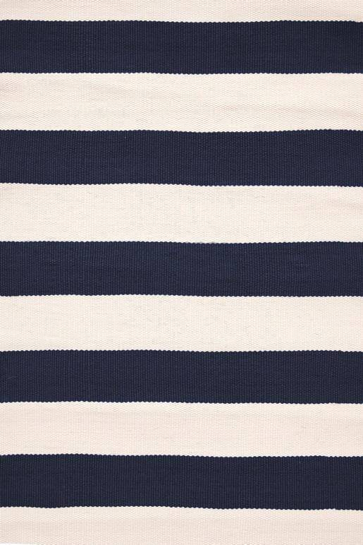 Dash & Albert Catamaran Stripe Navy & Ivory Indoor Outdoor Rug | Hamptons Home