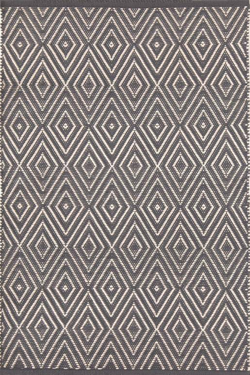 Dash & Albert Diamond Graphite & Ivory Indoor Outdoor Rug | Hamptons Home