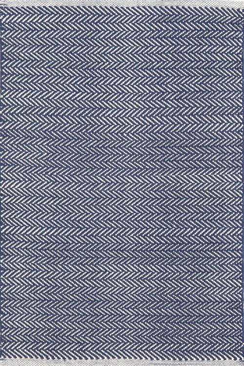 Dash & Albert Herringbone Indigo Cotton Indoor Outdoor Rug | Hamptons Home