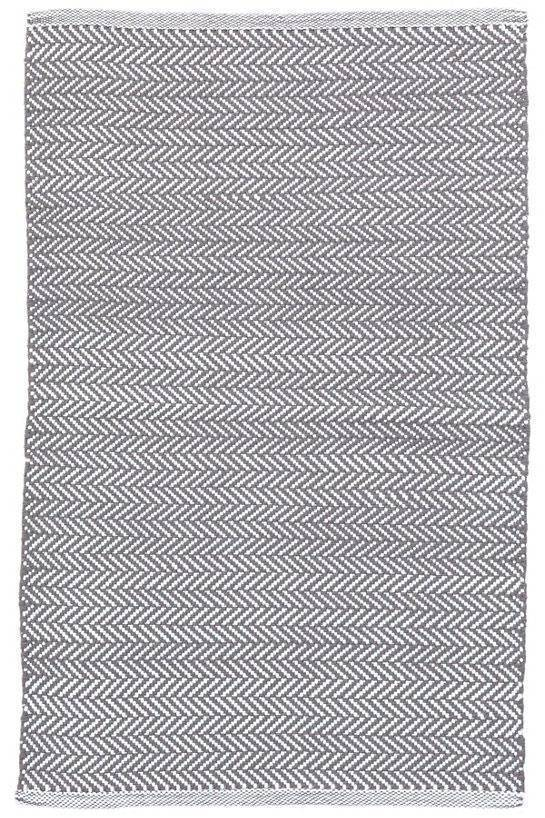 Dash & Albert Herringbone Shale Cotton Indoor Outdoor Rug | Hamptons Home