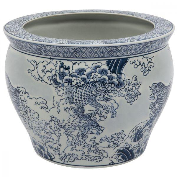 Planter Boxes - Saint Planter Classic Ocean Spray And Koi Ginger Jar Planter 27 Cm H