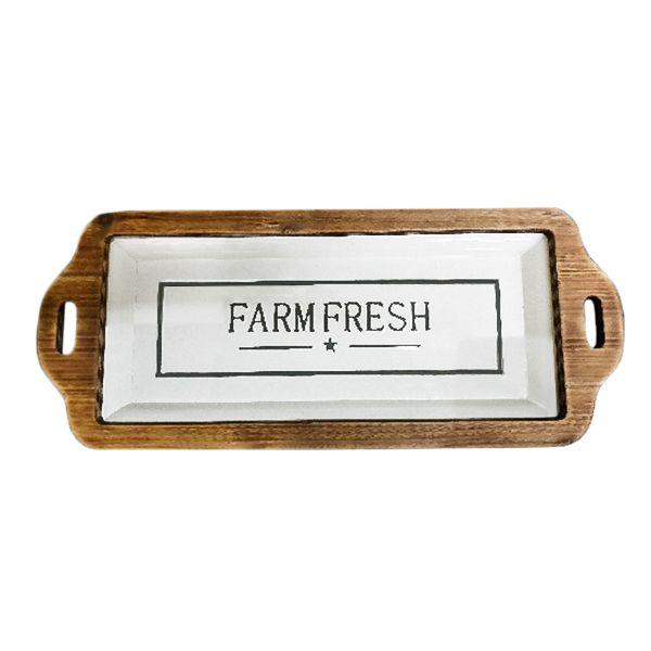 Serving Ware - Black And White Retro Enamel Tray With Wooden Edges - Farm Fresh - 70.5 Cm