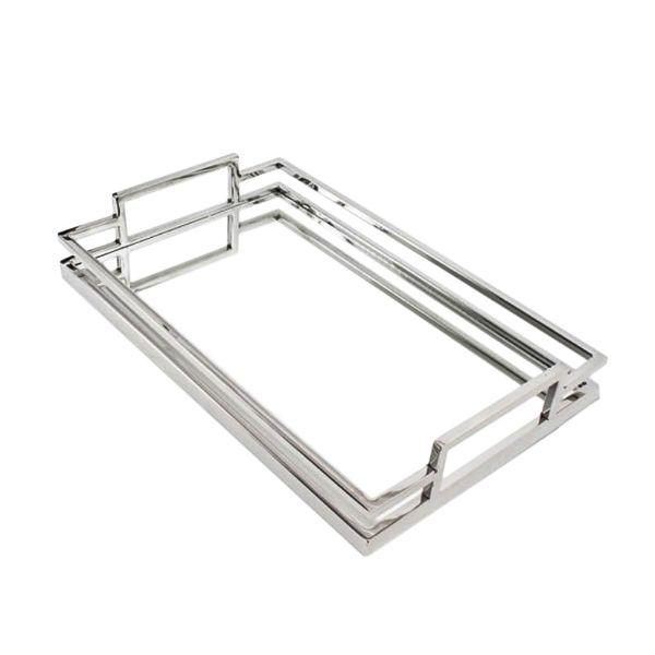 Serving Ware - Deluxe Chrome Mirror Tray 29 By 18 Cm