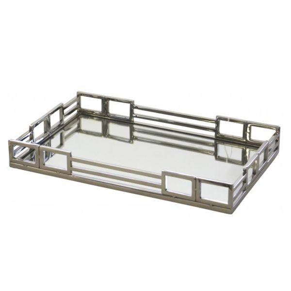 Serving Ware - Double Buckle Rectangle Mirror Tray 41 Cm L