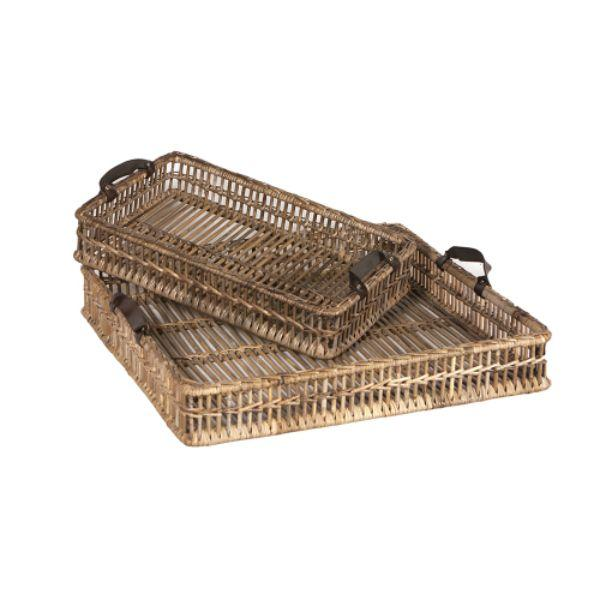 Serving Ware - Grey Kubu Rattan Trays With Handles Set Of 2 70 Cm L
