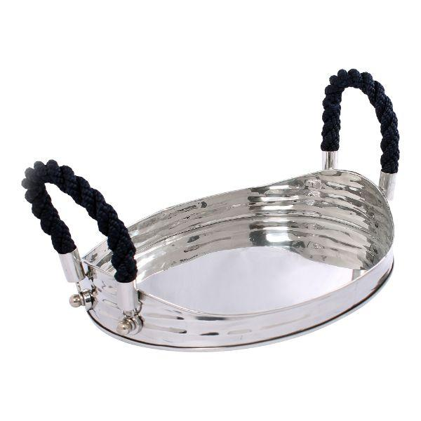 Serving Ware - Havana Blue Rope Serving Tray 43 Cm L | Hamptons Home
