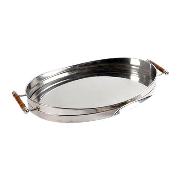 Serving Ware - Nickel And Bamboo Serving Tray 48.5 Cm L