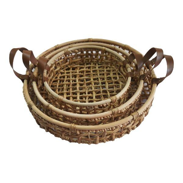Serving Ware - Round Trays Leather Handle Natural Rattan Set Of 3