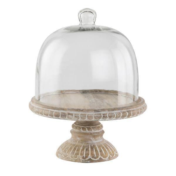 Serving Ware - Whitewash Cake Stand With Dome 31 Cm H