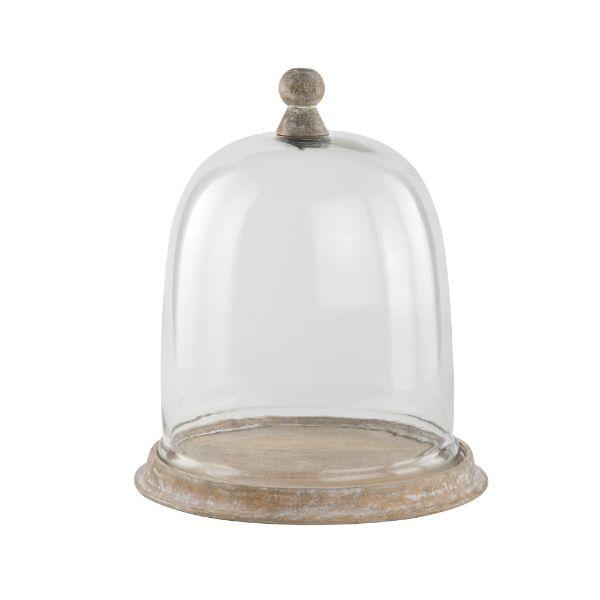 Serving Ware - Whitewash Mango Wood Large Cake Dome 36 Cm H