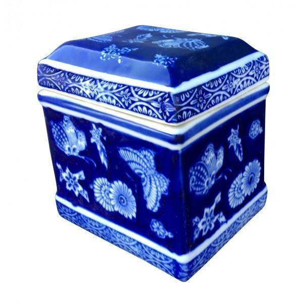 Ceramic Blue and White Butterfly Ginger Jar Box | Hamptons Home