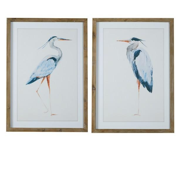 Blue Birds Natural Frame Wall Art Set of 2 | Hamptons Home