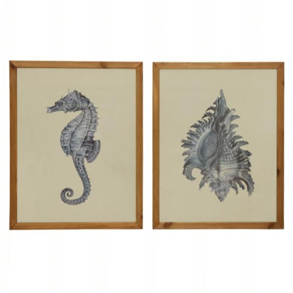 Blue Conch Shell and Seahorse Wall Art Set of 2 | Hamptons Home