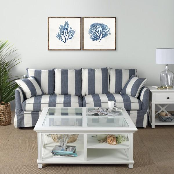 Blue Coral Brown Bamboo Framed Wall Art Set of 2 | Hamptons Home