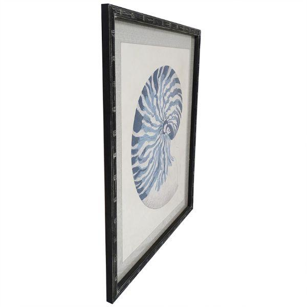 Wall Art - Blue Nautilus Bamboo Framed Wall Art 120 Cm H