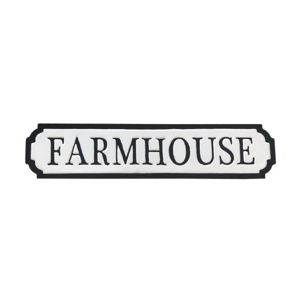 Wall Art - FARMHOUSE Black And White Enamel Retro Wall Sign 90 Cm
