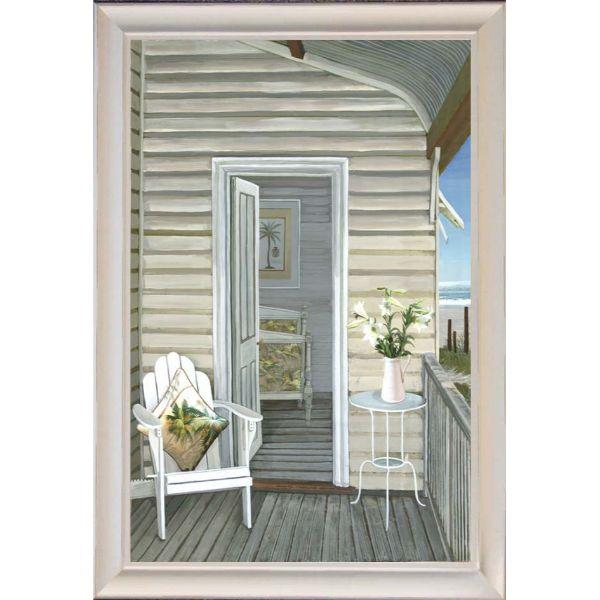 Wall Art - Hamptons Adirondack Chair At Beach Hut Framed Wall Art 102 Cm By 72 Cm | Hamptons Home