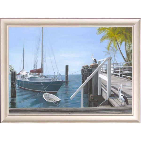 Wall Art - Hamptons Beach Boat At Dock Framed Wall Art 102 By 77 Cm | Hamptons Home