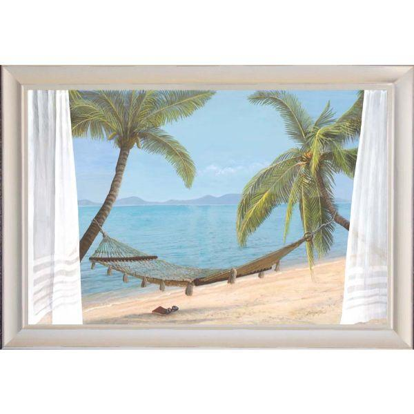 Hamptons Beach Brown Hammock Coconut Trees Framed Wall | Hamptons Home