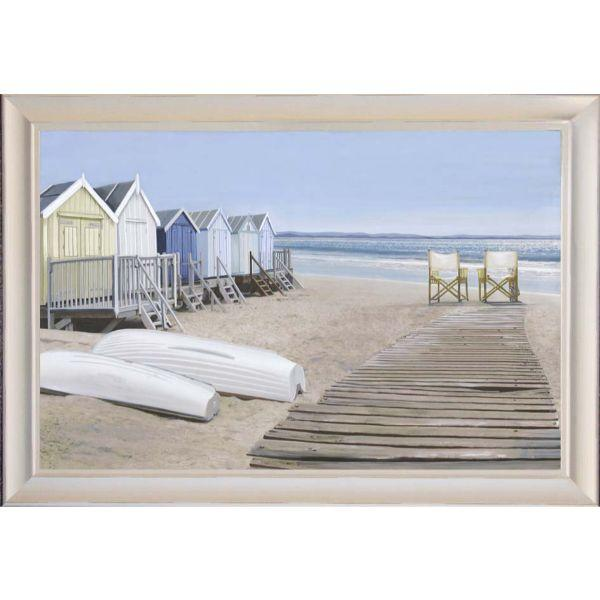 Wall Art - Hamptons Beach Huts And Boats Framed Wall Art 102 Cm By 72 Cm | Hamptons Home