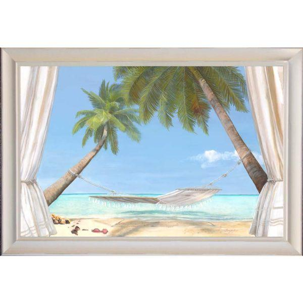 Hamptons Beach White Hammock Coconut Trees Framed Wall | Hamptons Home