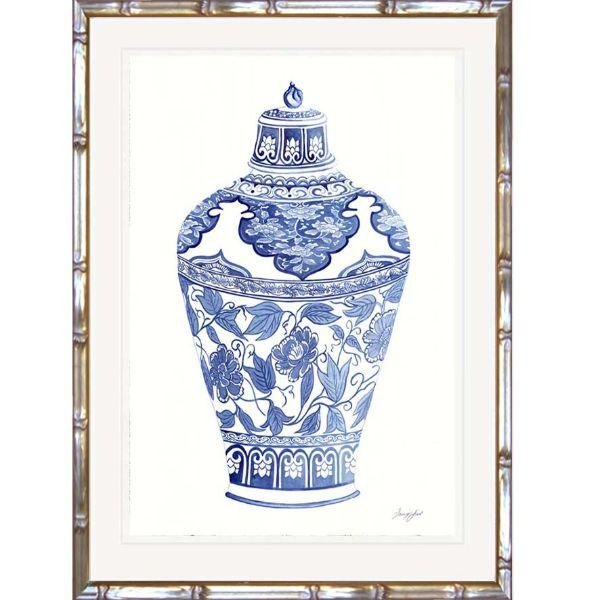 Wall Art - Hamptons Blue And White Ginger Jar Bamboo Framed Wall Art (Design 1) 63.2 Cm By 83.2 Cm