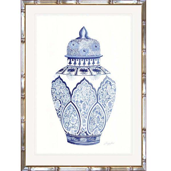 Wall Art - Hamptons Blue And White Ginger Jar Bamboo Framed Wall Art (Design 3) 63.2 Cm By 83.2 Cm
