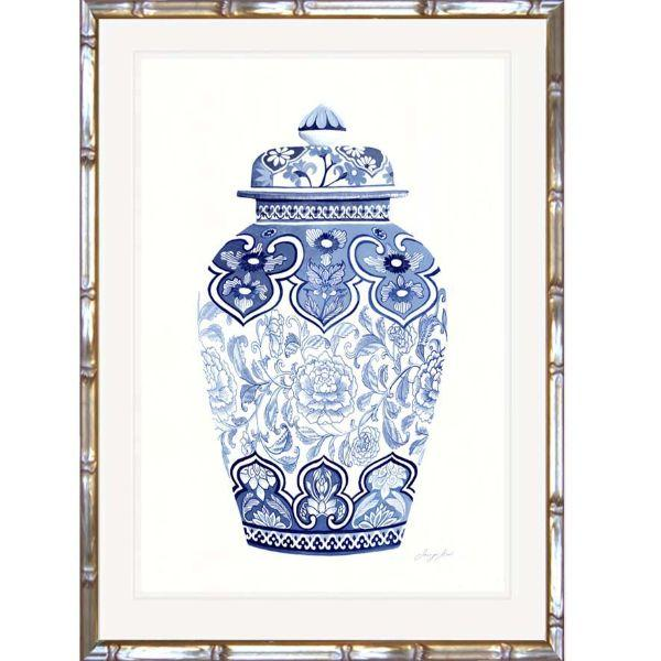 Blue and White Ginger Jar Bamboo Framed Wall Art | Hamptons Home