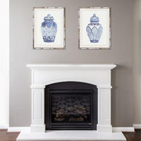 Hamptons Blue and White Ginger Jar Bamboo Framed Wall Art (Design 4) 63.2 cm by 83.2 cm