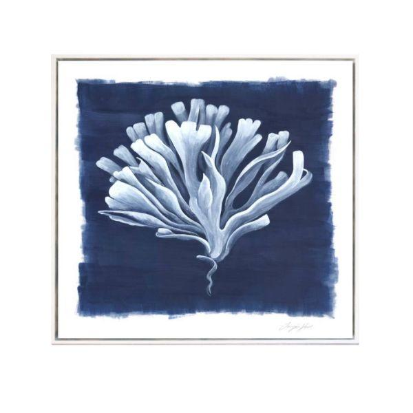 Wall Art - Hamptons Deep Blue Sea Coral Framed Wall Art Set Of 4 Combined 104 Cm By 104 Cm