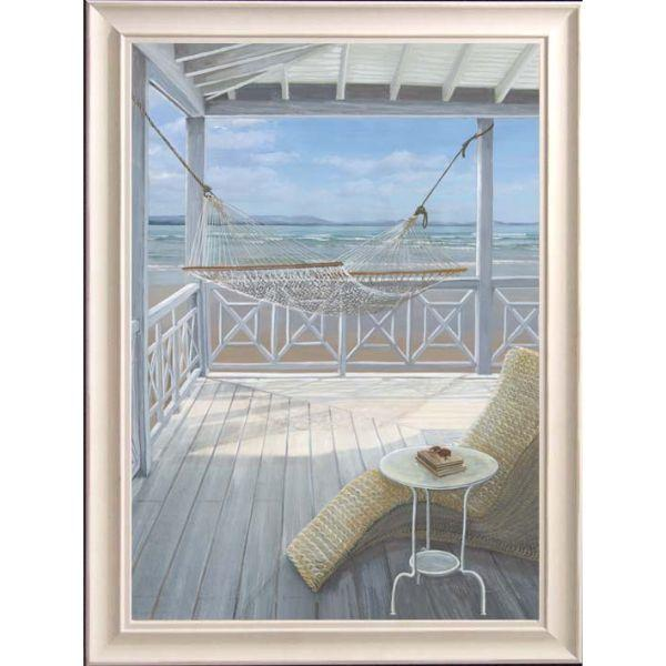 Hammock on Veranda Beach Framed Wall Art | Hamptons Home