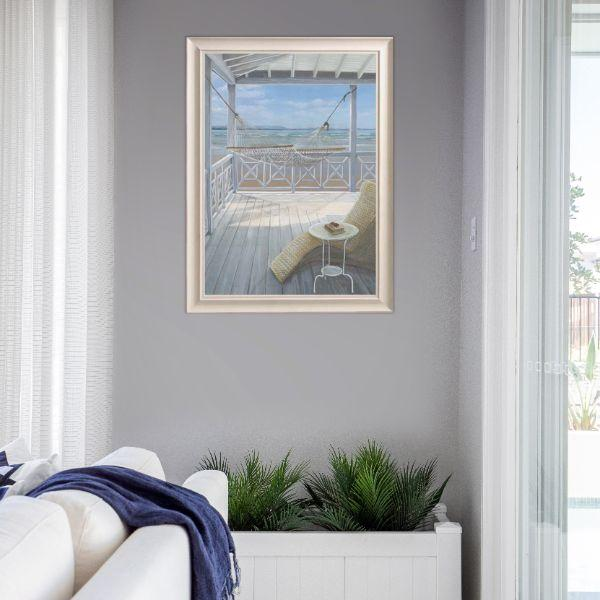 Wall Art - Hamptons Hammock On Veranda Beach Framed Wall Art 102 By 77 Cm