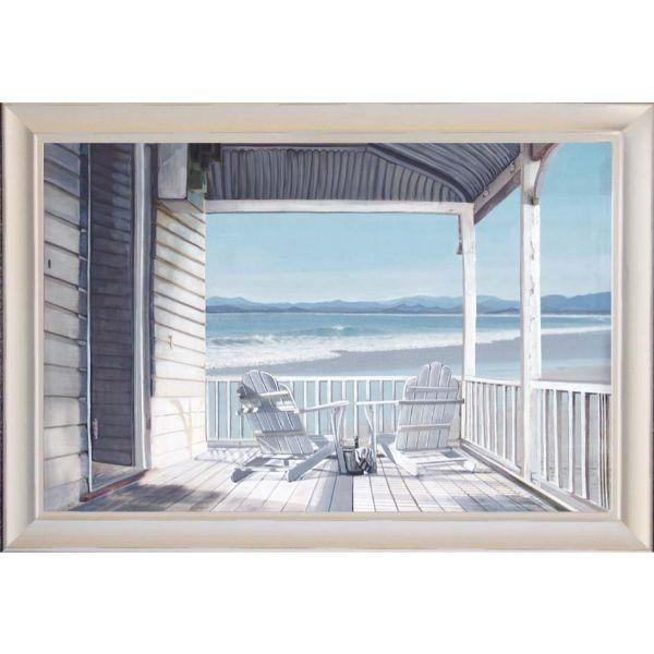 Hamptons Veranda by the Sea Framed Wall Art l Hamptons Home