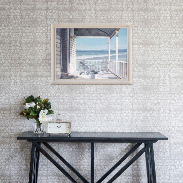 Wall Art - Hamptons Veranda By The Sea Framed Wall Art 102 Cm By 72 Cm