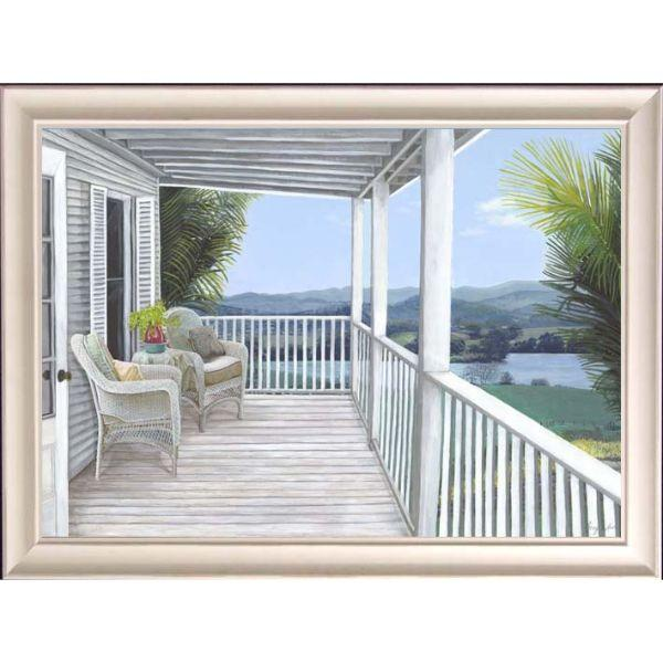 Wall Art - Hamptons Veranda Mountain View Framed Wall Art 102 By 77 Cm | Hamptons Home