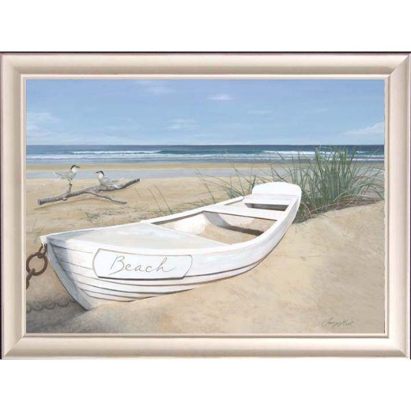 White Yacht Beach Framed Wall Art | Hamptons Home